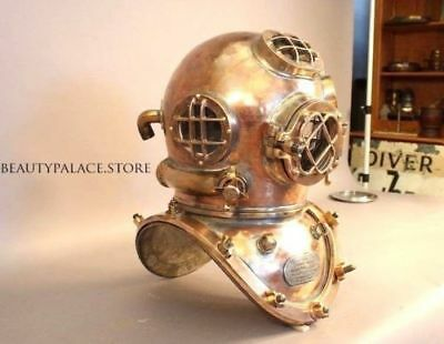 "U.s Navy Mark V Sea 18"" Marin Vintage Diving Divers Helmet Solid Copper & Brass"