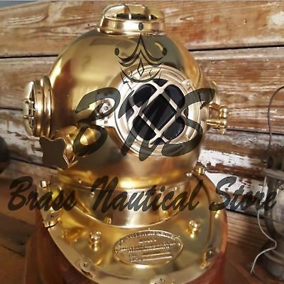 Antique W Base Brass Vintage US Navy Copper Solid Divers Scuba Sea Diving Helmet