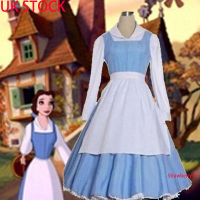Beauty And The Beast Princess Belle Maid Dress Blue Cosplay Costume Fancy Dress & BEAUTY AND THE Beast Princess Belle Maid Dress Blue Cosplay Costume ...