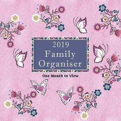 2018-19 Mid Year Academic Family Home Planner Calendar Month-to-view, Butterfly