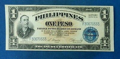 Philippines 1 Peso, 1944. Victory series overprint. Crisp VF