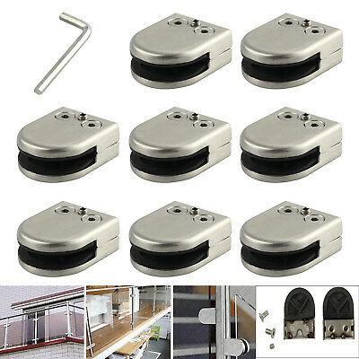 8Pcs Stainless Steel Glass Clamp Clip  Shower Wall Floor Bracket Holder 8-10Mm