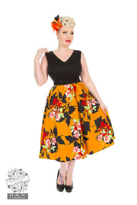 Hearts And Roses H&r Wild Roses Swing Skirt Dress Retro Vintage 40's 50's
