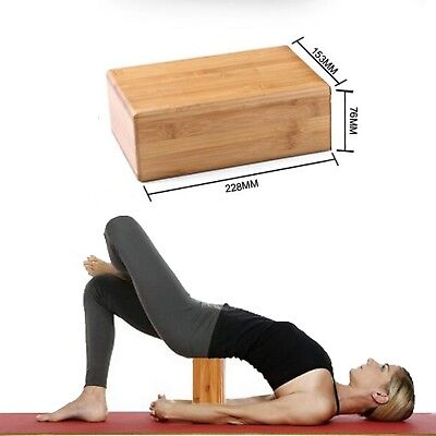 Natural bamboo Yoga Block Pilates Eva Brick Stretch Fitness Exercise Gym Sport