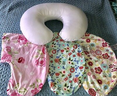 Lot Of 4 Girl Boppy Pillow Floral And Water Protective Cover