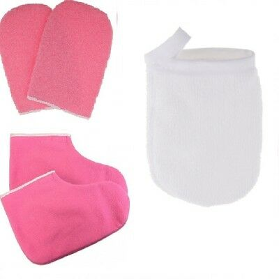 3x Face Cleaning Cloth Pad with Paraffin Wax Booties Protection Mitts Gloves
