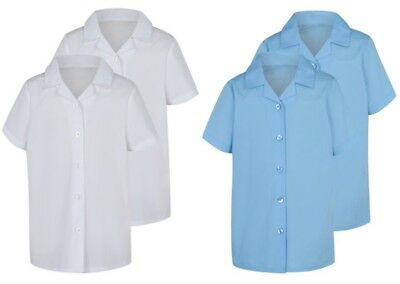 GIRLS EX STORE 2 PACK SCHOOL BLOUSES SHORT SLEEVE SHIRTS MULTI PACK UNIFORM