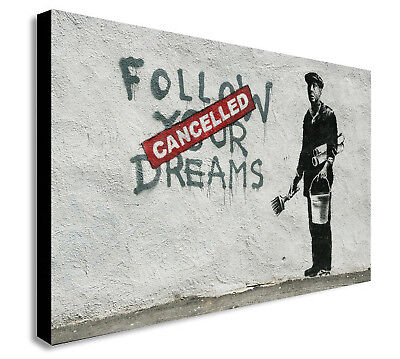 Banksy - Follow Your Dreams (Cancelled) - Canvas Wall Art Print - Various Sizes