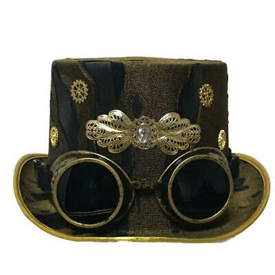 Steampunk Whitby Wanderers Hat removable Goggles Gothic Fashion Unisex Top Hat