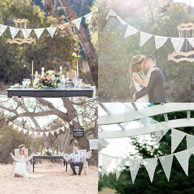 3.2m White 11 Flags Lace Vintage Party Wedding Pennant Bunting Banner Decoration