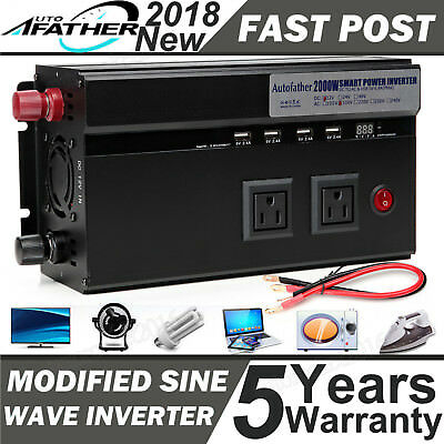 Autofather 2000W/4000 Watt Power Inverter 12V DC to 110V AC Adapter Charger Car