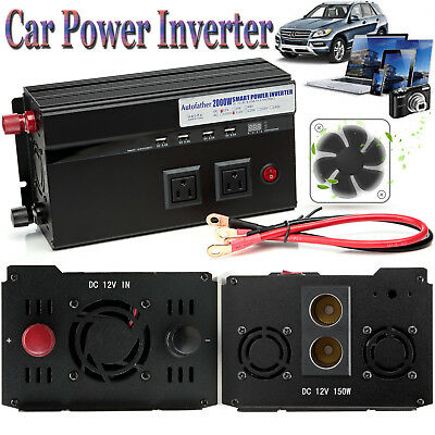 2000W/4000W Peak Car High Power Inverter Converter DC 12V To AC 110V USB Charger