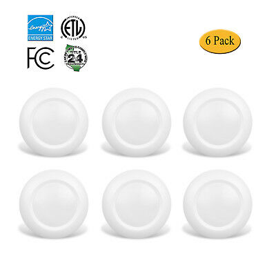 6 Inch Slim Surface Mount Round LED Disk Light,15W,3000K,Dimmable,White,6 Pack