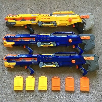 Lot of 3 Nerf Longshot CS-6 Soft Dart Gun Blasters Blue Yellow w/ 6 Clips Tested