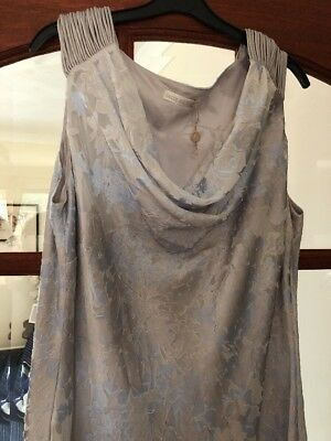 Jacques Vert Grey And Blue Occasion Dress New Size 18