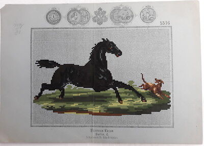 Antique Berlin Woolwork Pattern Chart Tapestry Embroidery Horse