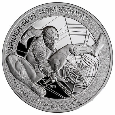 2017 Cook Islands MARVEL SPIDER-MAN: HOMECOMING 1 oz Silver Proof $5 Coin