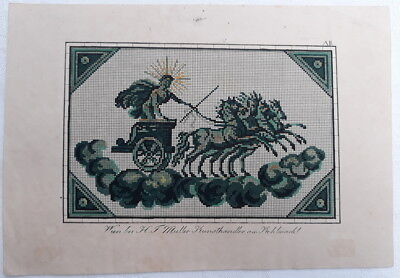 Antique Berlin Woolwork Pattern Chart Tapestry Needlepoint Embroidery Horse