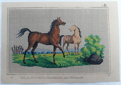 Antique Berlin Woolwork Pattern Chart Tapestry Needlepoint Embroidery Horses