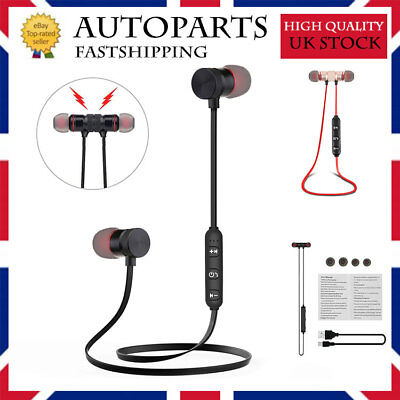Sports In-Ear Wireless Earphones Bluetooth Stereo Headphones Headsets W/ Mic UK