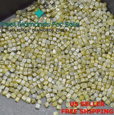 25 carats 100% Natural Loose Rough Diamonds Real Yellow 1.70mm Cubes Rare BEST