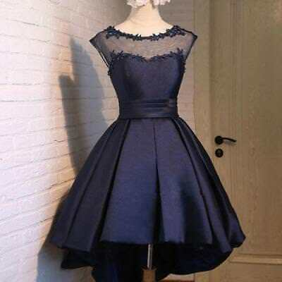 2018 Navy Blue Homecoming Dress Lace Short Cocktail Prom Party Formal Ball Gown