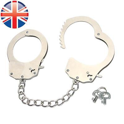 *UK Seller* Chrome Metal Stainless Steel Handcuffs Sex Toy Bondage