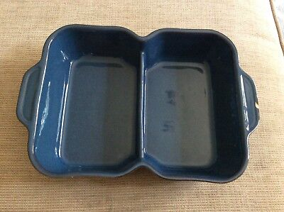 Denby Blue Boston Serving Dish Oblong divided (small chip)