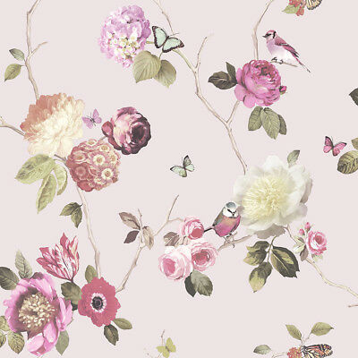 Arthouse Opera Charmed Pink Blush Floral Birds Feature Wallpaper 889802
