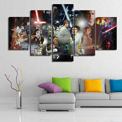 With Framed,Large HD Print On Canvas Home Modern Decor Wall Art,Star Wars 5 PCS