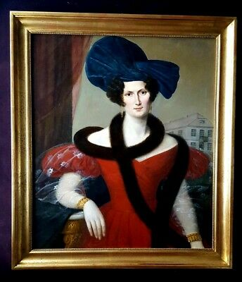 Amazing  Portrait of Lady 19th Century Antique Oil Painting 1830s
