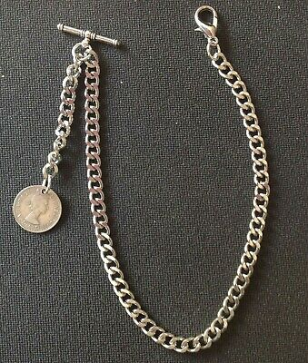 New silver colour Albert pocket watch chain with clasp,t-bar and ER II sixpence