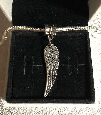 Silver Plated Angel Wing Pendant Charm for Charm Bracelet or Necklace