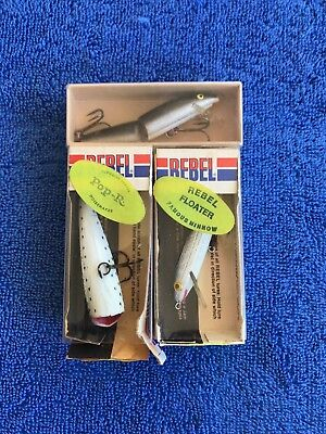 LOT of THREE Vintage Lures, 2 Rebels with original boxes- Excellent
