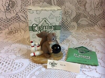 Retired Fitz and Floyd Charming Tails Spare Me Figurine Squirrel Bowling w/ Box