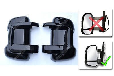 FIAT DUCATO Door Mirror Casing PROTECTOR Protective Covers BLACK Pair 2006 On