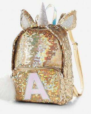 NWT Justice Unicorn Initial Flip Sequin MINI Backpack. You Choose Letter! 🦄🦄🦄
