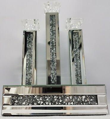 Diamond Crush Crystal Effect Silver Mirrored 3 Candle Holder Bling 47.5cm Height