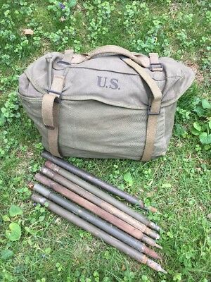WWII 1945 US Army Half Shelter Pup Tent W Musette Bag & Poles  US Stamp