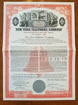 1960 New York Telephone Company Bond Certificate