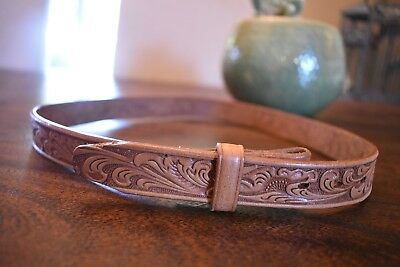 "Justin Boys/Girls Childs Unisex Brown Leather Tooled Floral Belt 28"" Western"