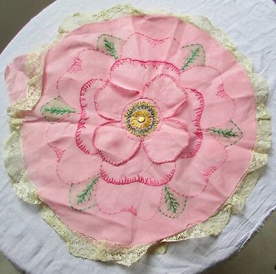 Antique Pink 3D Flower Hand Embroidered Handmade Organdy Boudoir Pillow Cover