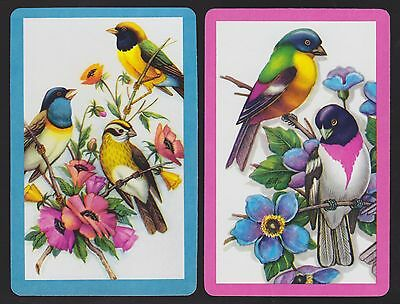 2 Single VINTAGE Swap/Playing Cards BIRDS ID 'BRIGHT BIRDS BI-7-5&7-6' Blue Pink