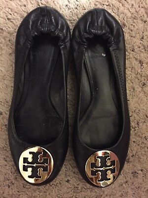 Women's Tory Burch Black Leather Ballet Flats Comfort Shoes Size 7M ~ Pre-owned