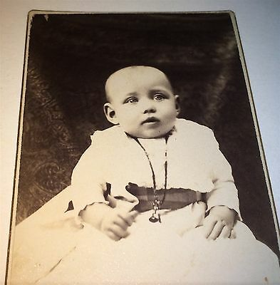 Antique Victorian American Fashion Baby, Necklace & Bell Charm! Old CDV Photo!