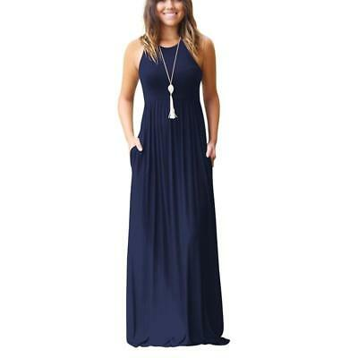 2018 SUMMER SLEEVELESS Boho Maxi Dress Women Casual Beach ...