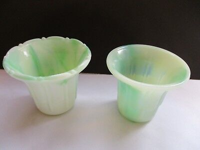 Vintage ~ 2  Nyc Vogue Mercantile Co. Green/white Swirl Swirl Pots