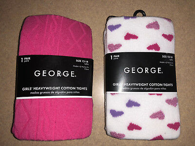 NWT 2 Pair George Girls Heavyweight Cotton Tights Size 12-14 White w Hearts Pink