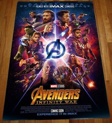 Marvel Avengers INFINITY WAR Original 27x40 Double Sided Int'l IMAX Movie Poster