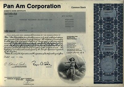Pan Am Corporation Stock Certificate American
